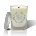 Soy Wax Hand Poured Glass Vessel Candle Home Sweet Home Wreath Design