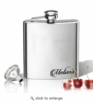 Stainless Steel Hip Flask (8 oz) Personalized to your desire. Lower corner name fancy.