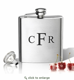 Stainless Steel Hip Flask (8 oz) Personalized to your desire.  Monogram V1