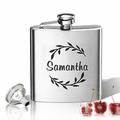 Stainless Steel Hip Flask (8 oz) Personalized to your desire.  Name with branch wreath