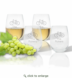 Stemless Wine Tumbler  (Set of 4) : Bike