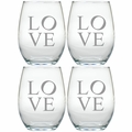 STEMLESS WINE TUMBLER - SET OF 4 (GLASS) : LOVE