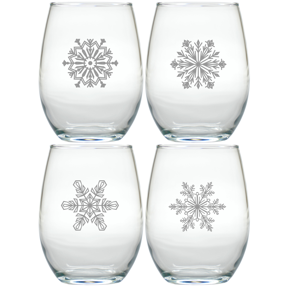 modern snowflake stemless wine tumblers by carved solutions