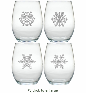 STEMLESS WINE TUMBLER - SET OF 4 (GLASS) MODERN SNOWFLAKES