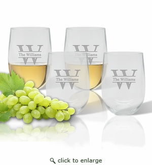 Stemless Wine Tumbler  (Set of 4): Split Letter