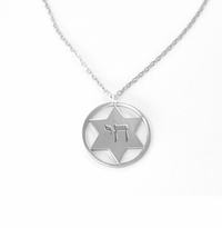 STERLING SILVER STAR OF DAVID WITH CHAI