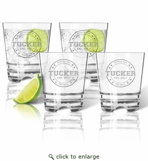 Tritan Double Old Fashioned Glasses 12oz (Set of 4) : Collegiate Sports Logo