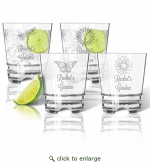 Tritan Double Old Fashioned Glasses 12oz (Set of 4): Garden with Name