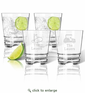 Tritan Double Old Fashioned Glasses 12oz (Set of 4): Golf with name