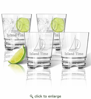 Tritan Double Old Fashioned Glasses 12oz (Set of 4) :  Sailboat