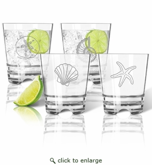Tritan Double Old Fashioned Glasses 12oz (Set of 4) : Shells Collection