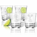Tritan Double Old Fashioned Glasses 12oz (Set of 4) : Sports Variety  with name