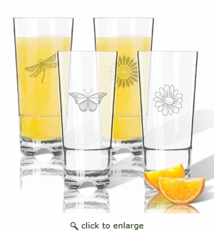 Tritan High Ball Glasses 16 oz (Set of 4): Garden