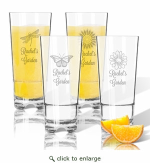 Tritan High Ball Glasses 16 oz (Set of 4): Garden w Names