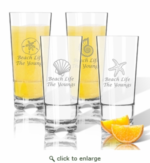 Tritan High Ball Glasses 16 oz (Set of 4): Shells Collection  with Name