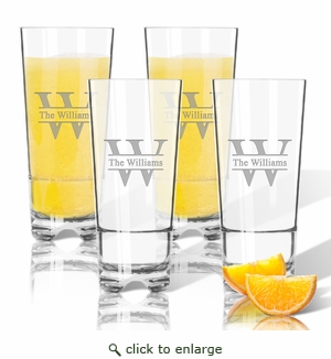 Tritan High Ball Glasses 16 oz (Set of 4): Split Letter