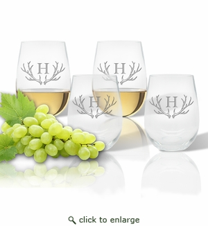 Tritan Stemless Wine Tumbler 15oz  (Set of 4) Antler Initial Motif