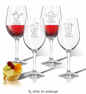 Tritan Wine Stems 12 oz (Set of 4) : Gardener  with Name