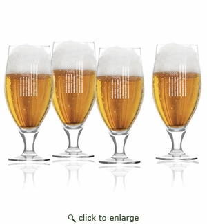 Vertical American Flag Set of 4  Cervoise Glasses 16 oz