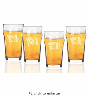 Waving American Flag Set of 4  Nonic/Pub Glasses  16 oz