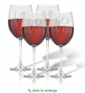 WINE STEMWARE - SET OF 4 (GLASS) : LOVE