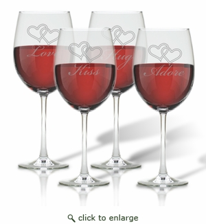 WINE STEMWARE - SET OF 4 (GLASS) : LOVE KISS HUG ADORE