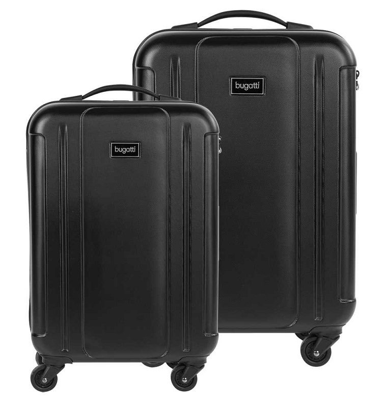 Black Bugatti Hard Luggage 2 Pieces Set