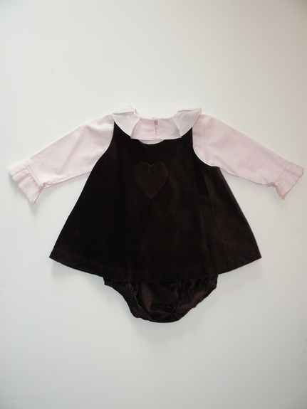 3 PC Lush Velvet Dress - and Pink Ruff el Top-Size 6 -12m