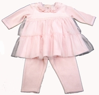 "Baby Biscotti ""Baby Ballerina"" Pink Velour Dress & Leggings"