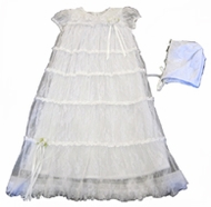 "Baby Biscotti ""Cherished Heirloom"" Netting Gown & Bonnet"