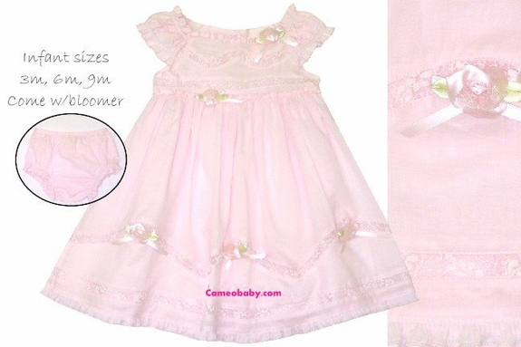 Baby Biscotti *Lace and Rose* Dress-Size 6m - 24m