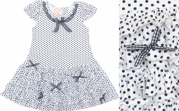 Biscotti Dress *Pretty Navy and White Polka* Sizes 6m & 12m