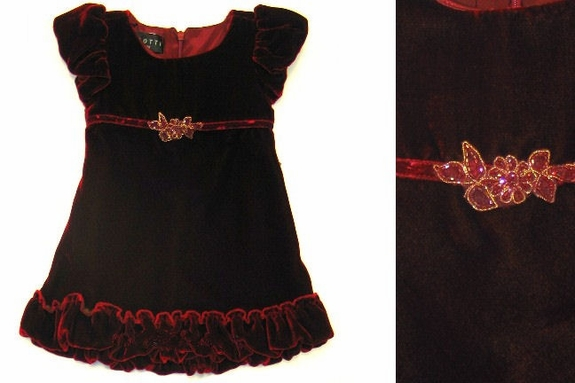 Biscotti Dress - Rich Ruby Velvet -24M