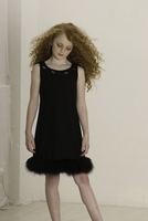 Biscotti Dresses *Chic Marabou* Fur-Trimmed Dress Size 7 & 8