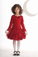 Biscotti Dresses-*Girl's Infant Pocketful Of Posies Long Sleeve Dress in Red*