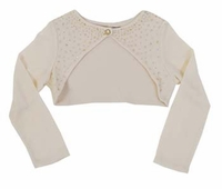 "Biscotti Dresses ""Glimmer in Gold"" Ivory Embellished Shrug"
