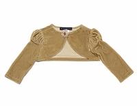 Biscotti Dresses /Infant- Toddler Girls Golden Girl Gold Velvet Puff Sleeve Shrug