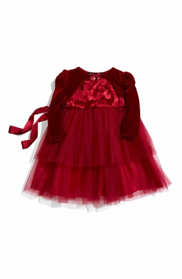 Biscotti Dresses *La Belle Fleur* Holiday Red Tulle Dress & Shrug 2-Piece Set- 9M