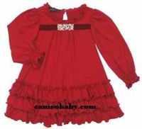 Biscotti Dresses *Little Gems* Red Knit Ruffle Dress with Jewel Embellishment