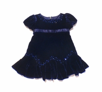 Biscotti Dresses - Rich Blue Velvet with Sequins. Sizes 9M to 2T