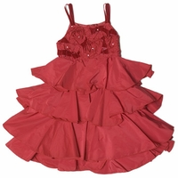 Biscotti Dresses- Ruffled Burgundy Red Taffeta