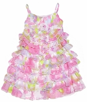 Biscotti Girls - Pink Floral Garden Path Strappy Dress!