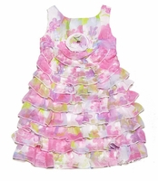 Biscotti Girls - Pink Floral Garden Path Tiered Dress Size 6