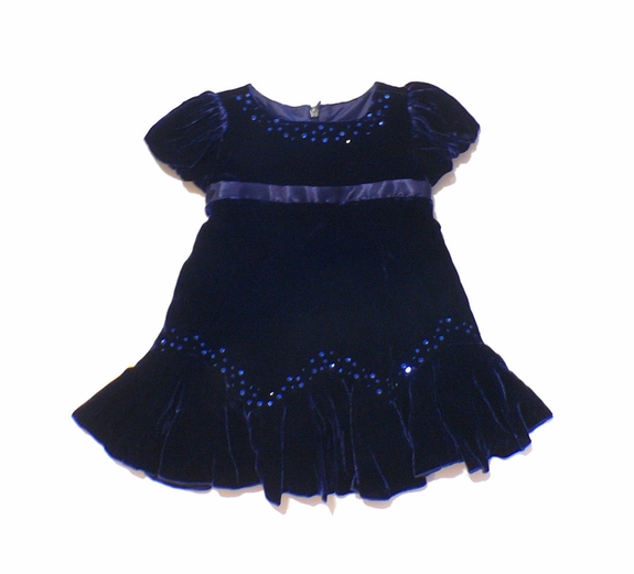 Biscotti Holiday Blue Dress, Size 9m -3T