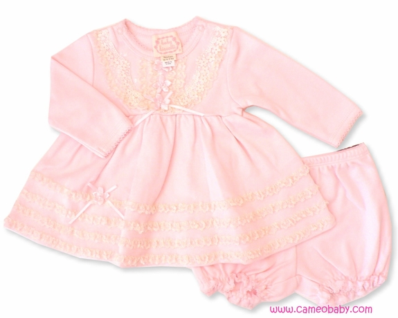 Biscotti *Lullaby Lace* Beautiful Pink w/Lace 2PC Dress-Size 6M & 9M