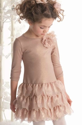 Biscotti *Shimmering Rose Long Sleeve Tiered Dress in Gold* sizes 4t-10t