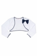 Biscotti *Ship Shape* - Girl's White Knit Shrug with Navy Accents