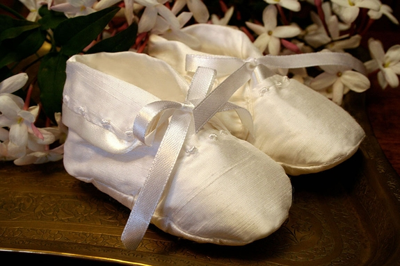 Boys Christening Booties- Silk