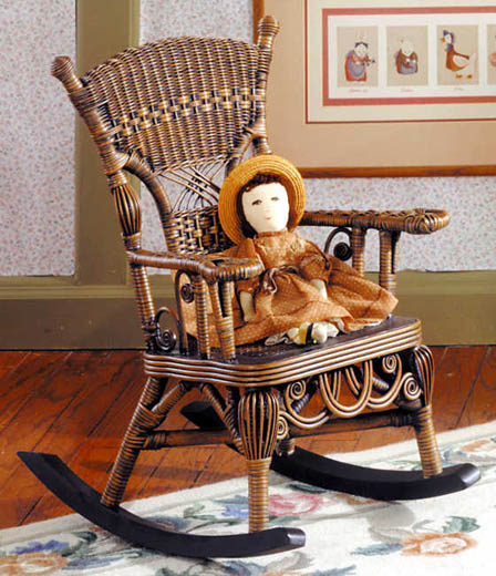 Child Rocking Chair - Heirloom Brown Wicker