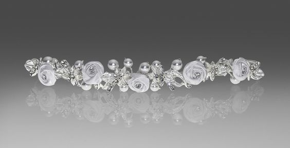 Communion Head Piece - 2706-Satin Florets and crystals